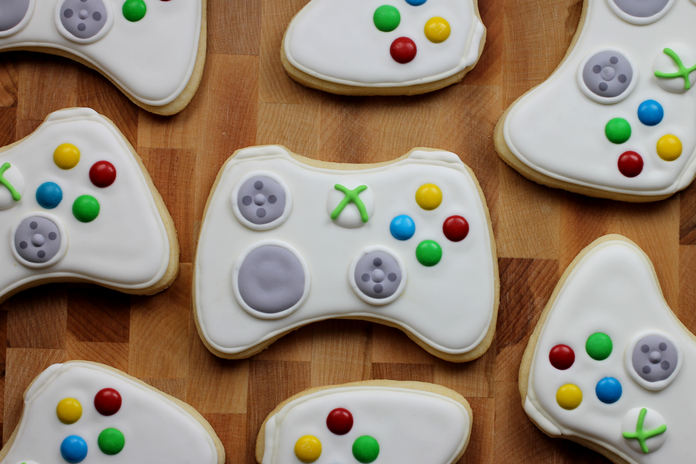 Xbox controller shaped sugar cookies