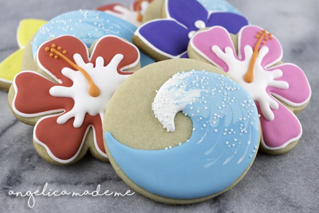 Hawaiian Hibiscus/Surf Decorated Cookies