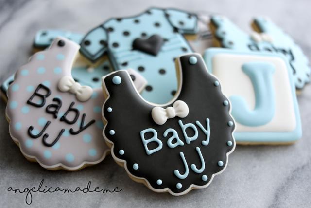 Black, Blue & Gray Baby Shower Sugar Cookies