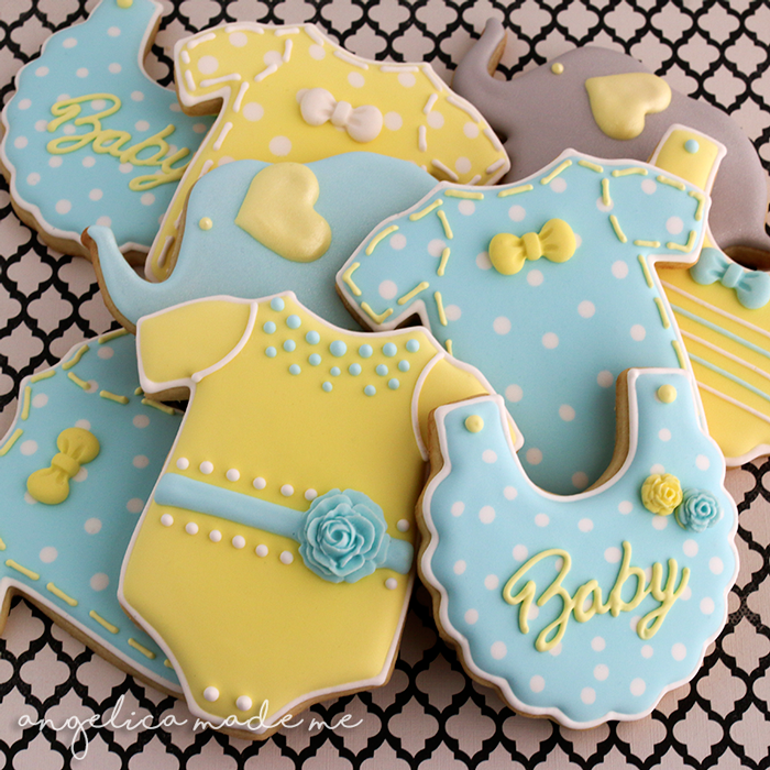 Blue & Yellow Baby Shower Sugar Cookies