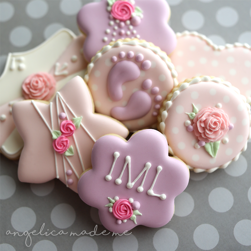 Light Pink & Purple Baby Shower Cookies