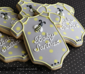 Bee Onesie Baby Shower Decorated Cookies