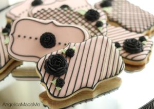Black Fondant Flower Decorated Cookies