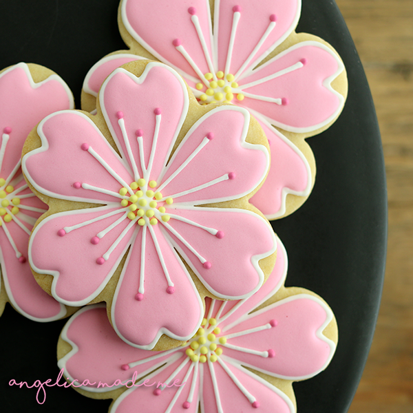 Cherry Blossom Decorated Cookies