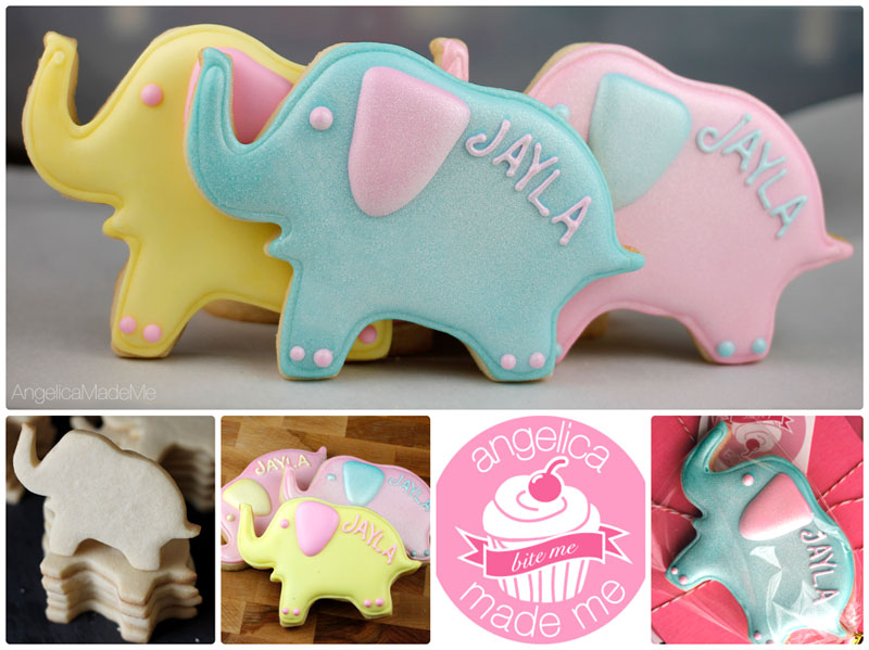 Shimmery Elephant Decorated Cookies