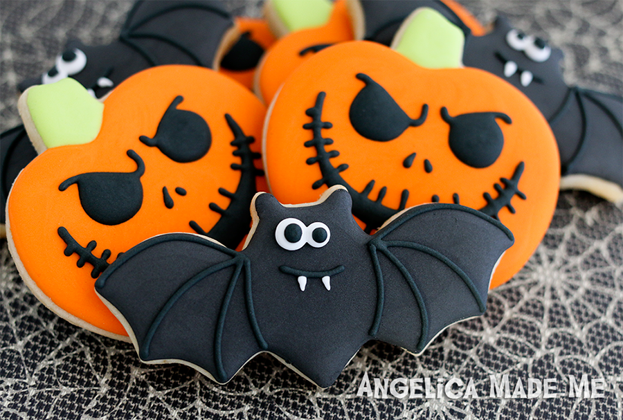 Halloween Bats & Pumpkins Sugar Cookies