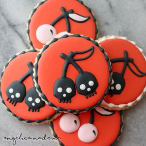 Poison Cherry Skull Sugar Cookies