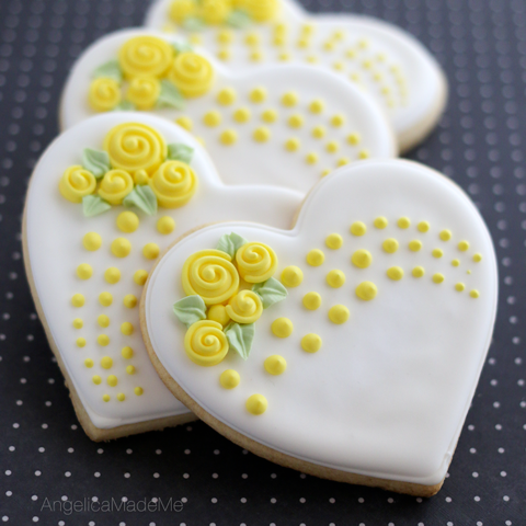 Heart-Shaped Flower Bouquet Cookies