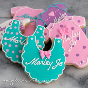 Pink, Purple & Teal Baby Shower Sugar Cookies