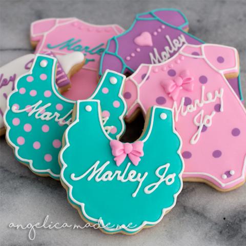Pink, Purple & Teal Baby Shower Sugar Cookies