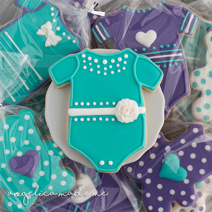 Teal, Purple & White Baby Shower Decorated Cookies