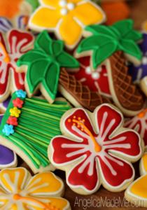 Tiki Hawaiian Decorated Cookies