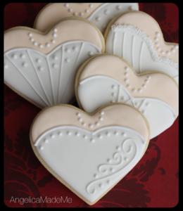 Wedding Dress Heart Cookies