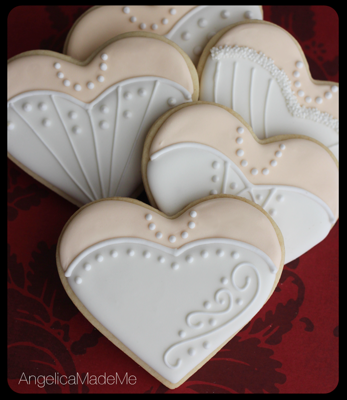 Wedding Dress Heart Cookies