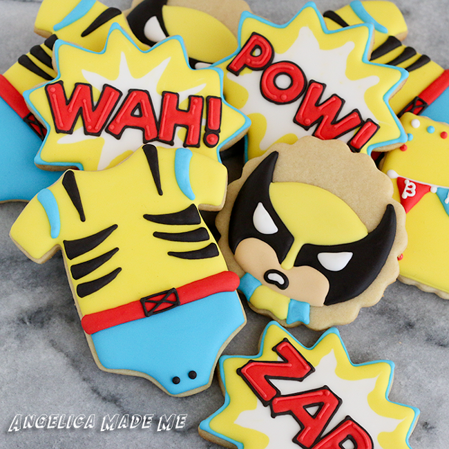 Wolverine Baby Shower Decorated Cookies